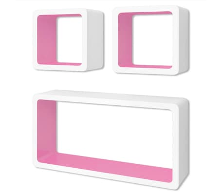 vidaXL Wall Cube Shelves 6 pcs White and Pink