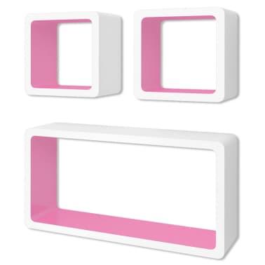 vidaXL Wall Cube Shelves 6 pcs White and Pink[2/7]