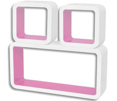 vidaXL Wall Cube Shelves 6 pcs White and Pink[4/7]