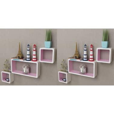 vidaXL Wall Cube Shelves 6 pcs White and Pink[3/7]