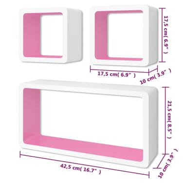 vidaXL Wall Cube Shelves 6 pcs White and Pink[7/7]