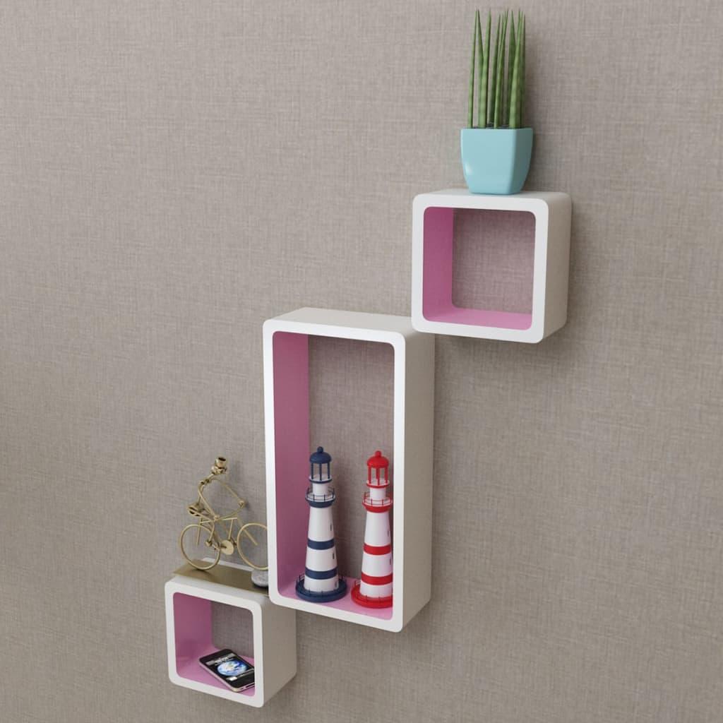 vidaXL Rafturi cub de perete, 6 buc., alb și roz poza vidaxl.ro