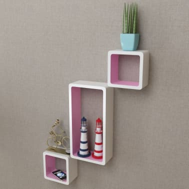 vidaXL Wall Cube Shelves 6 pcs White and Pink | vidaXL com au