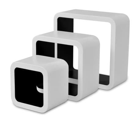 vidaXL Prateleiras de parede cubo 6 pcs branco e preto