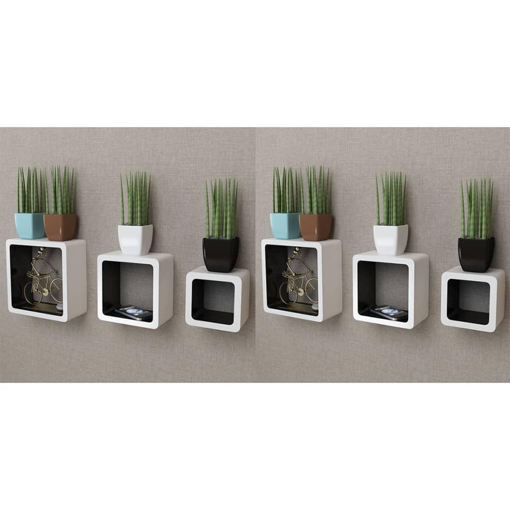 vidaXL Rafturi cub de perete, 6 buc., alb și negru imagine vidaxl.ro