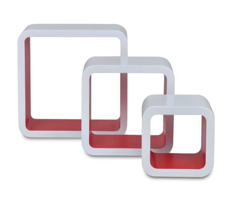 vidaXL Wall Cube Shelves 6 pcs White and Red[5/7]