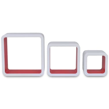 vidaXL Wall Cube Shelves 6 pcs White and Red[4/7]