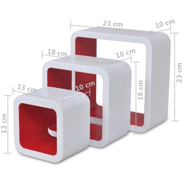 vidaXL Wall Cube Shelves 6 pcs White and Red[7/7]