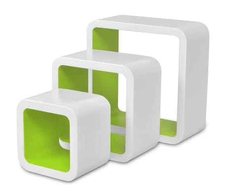 vidaXL Prateleiras de parede cubo 6 pcs branco e verde