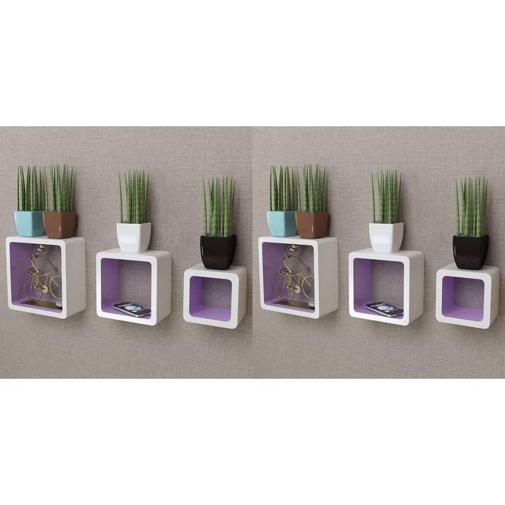 vidaXL Rafturi cub de perete, 6 buc., alb și mov poza vidaxl.ro