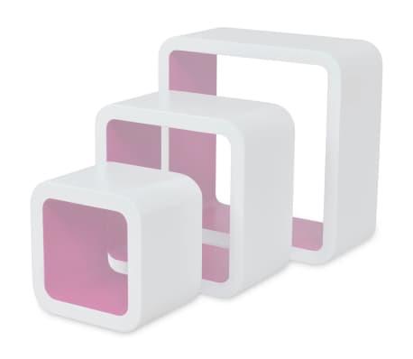 vidaXL Sieninės lentynos, 6vnt., baltos ir rožinės sp., kubo formos[2/7]