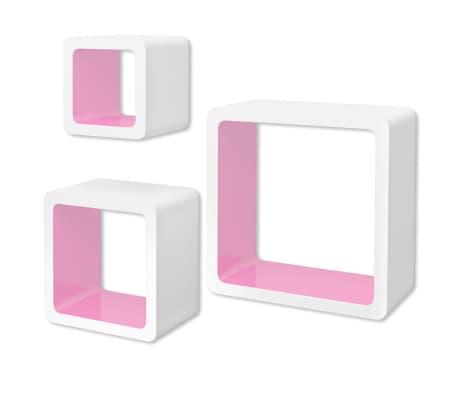 vidaXL Sieninės lentynos, 6vnt., baltos ir rožinės sp., kubo formos[6/7]