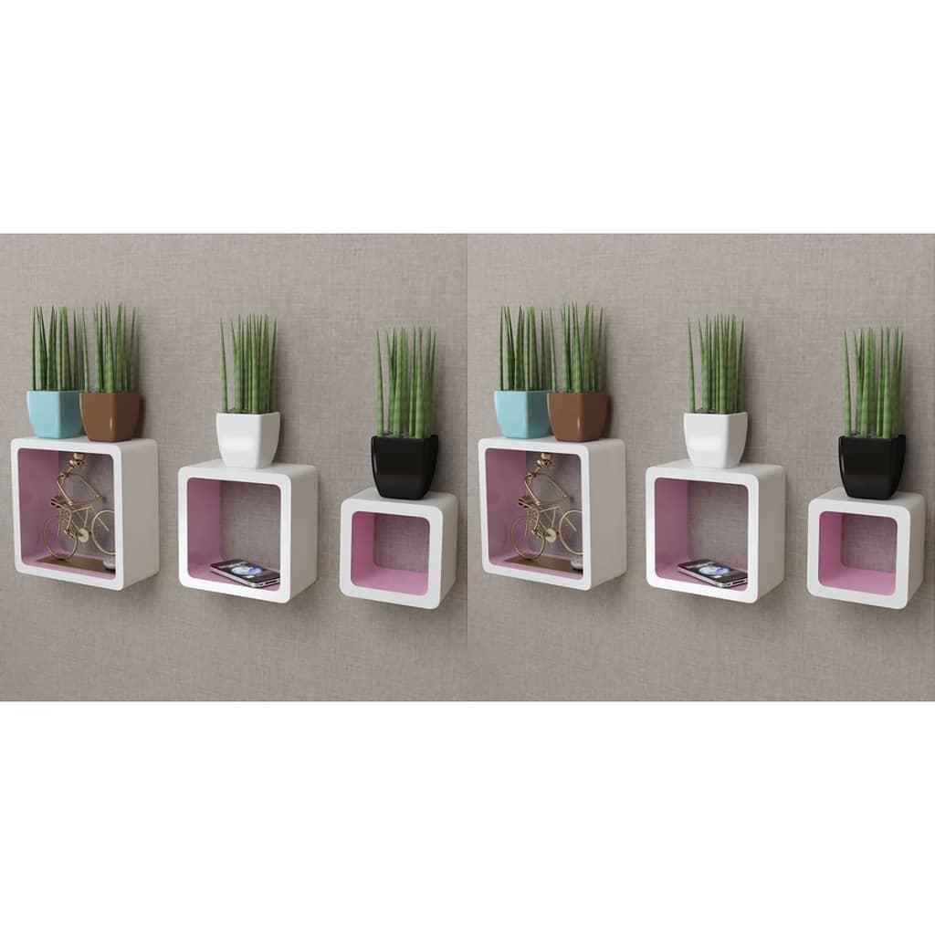 vidaXL Rafturi cub de perete, 6 buc., alb și roz vidaxl.ro