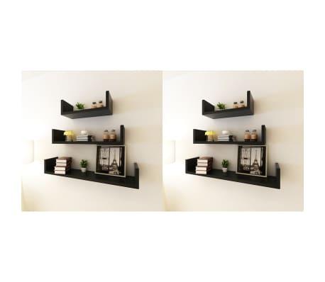 vidaXL Wall Shelves 6 pcs Black[1/5]