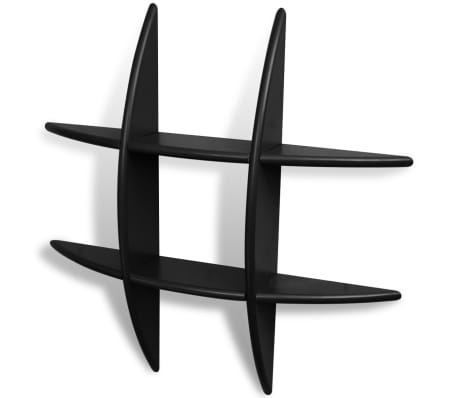 vidaXL Sieninės lentynos, 2vnt., juodos[2/3]