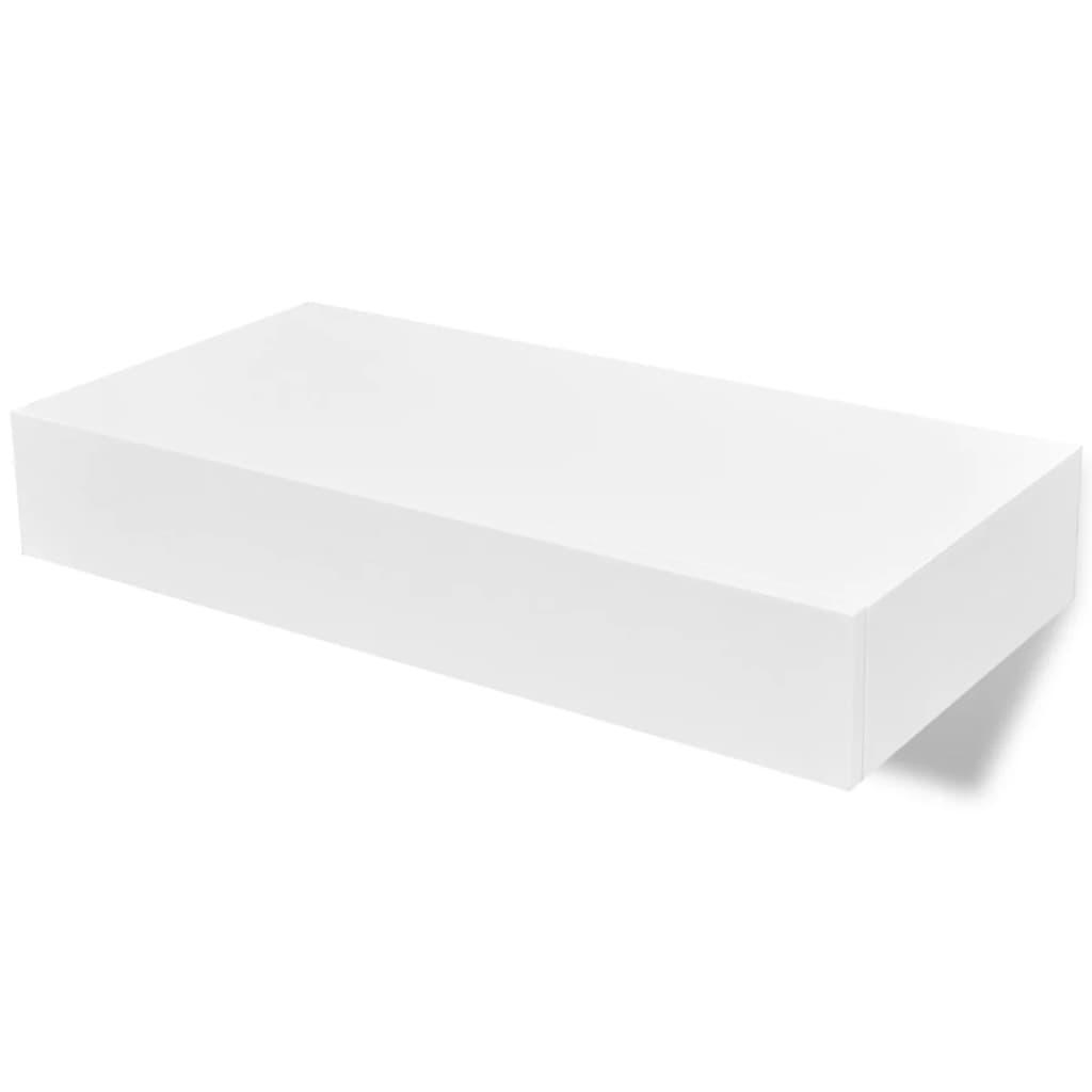vidaXL Ράφια Τοίχου με Συρτάρια 2 τεμ. Λευκά 48 εκ.