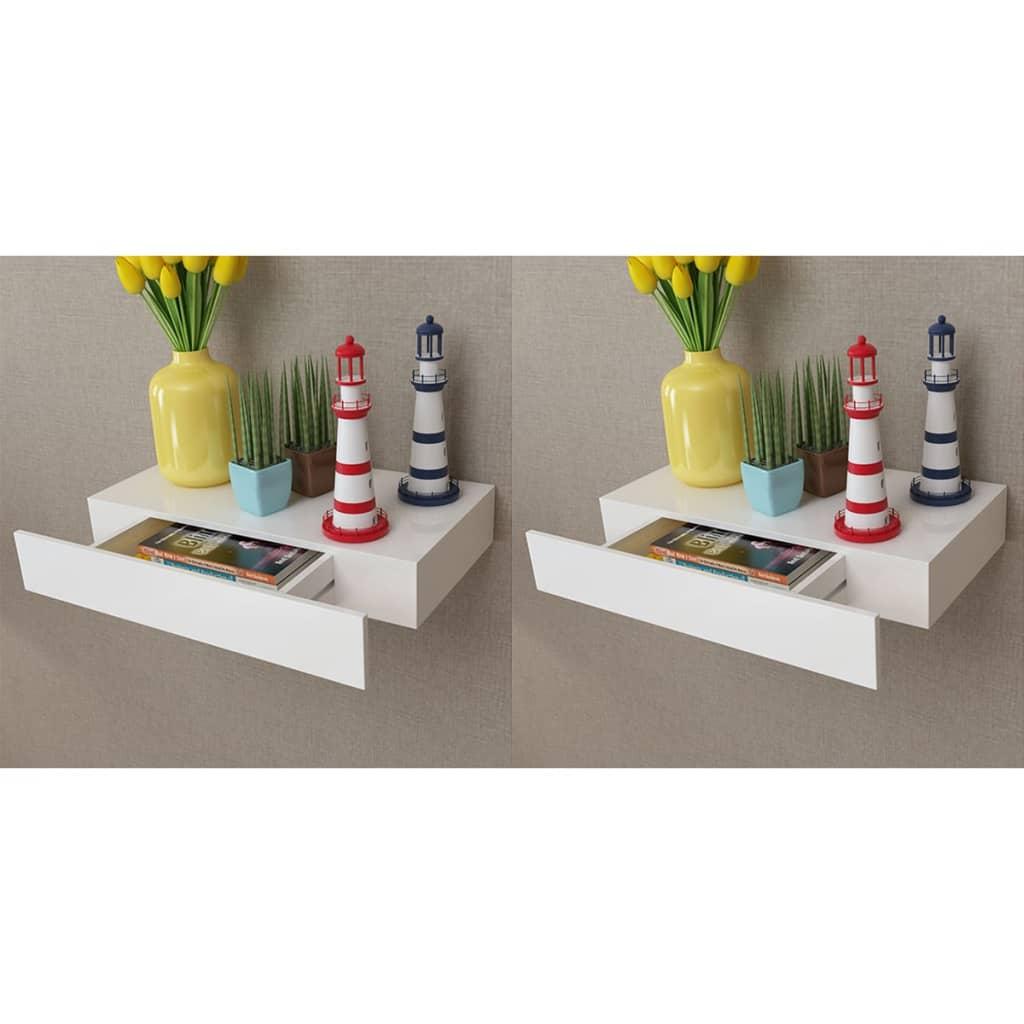 vidaXL 2 db fehér lebegő fali polc fiókkal 48 cm