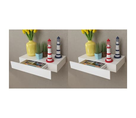 "vidaXL Floating Wall Shelves with Drawers 2 pcs White 18.9""[1/6]"