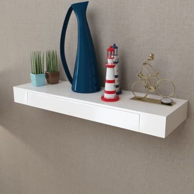 """vidaXL Floating Wall Shelves with Drawers 2 pcs White 31.5""""[3/6]"""