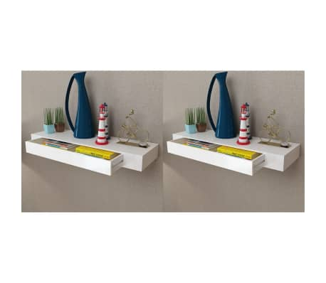 """vidaXL Floating Wall Shelves with Drawers 2 pcs White 31.5""""[1/6]"""