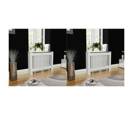 vidaXL Cache-radiateurs 2 pcs Blanc MDF 112 cm[1/4]