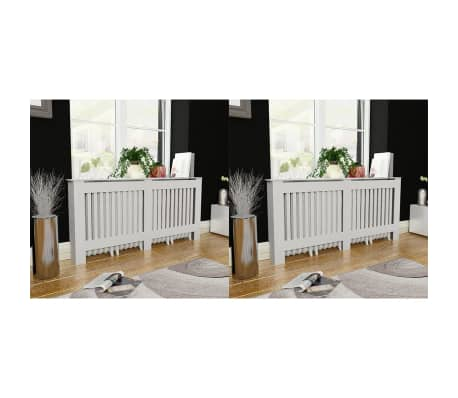 vidaXL Cache-radiateurs 2 pcs Blanc MDF 172 cm[1/4]