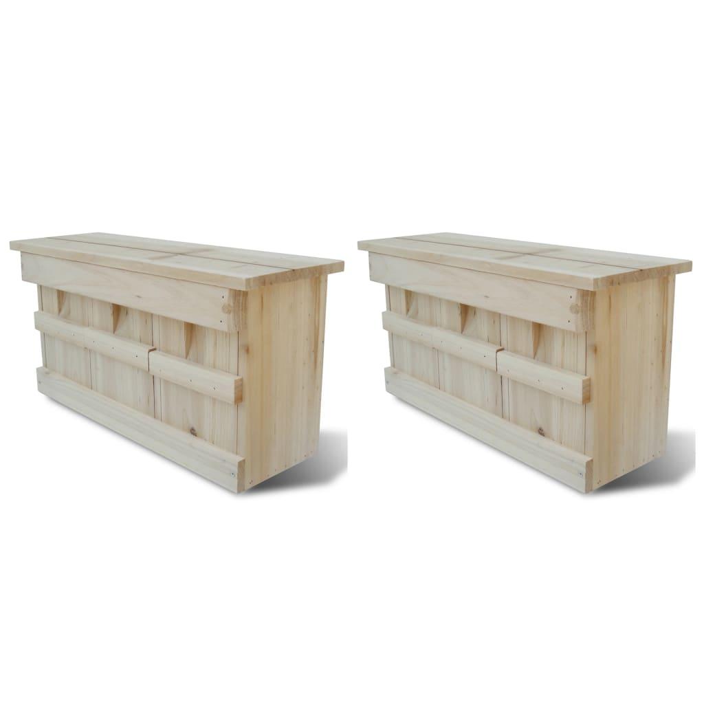 Ptačí budka pro špačky 2 ks 44 x 15,5 x 21,5 cm dřevo