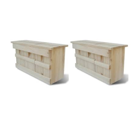 vidaXL Case de vrăbii, 2 buc., 44 x 15,5 x 21,5 cm, lemn[1/4]