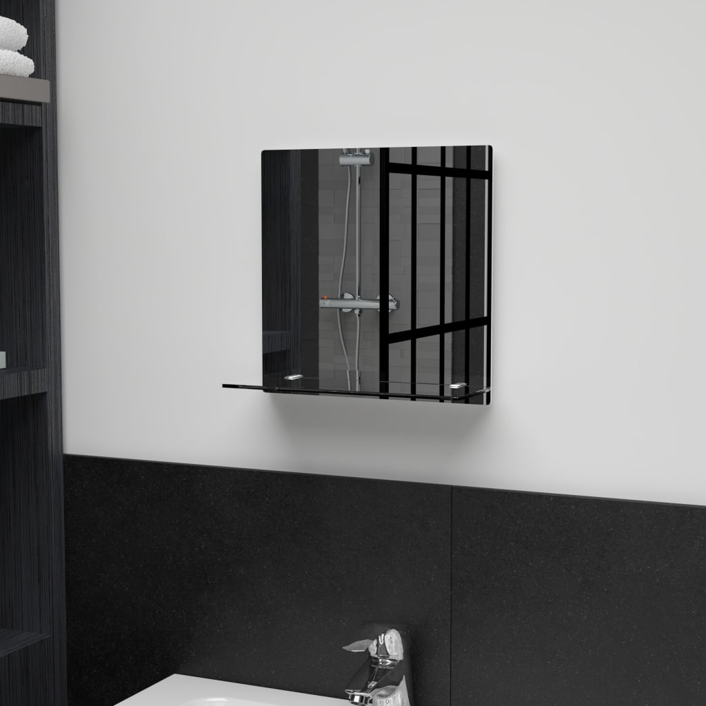 vidaXL Nástěnné zrcadlo s policí 30 x 30 cm tvrzené sklo