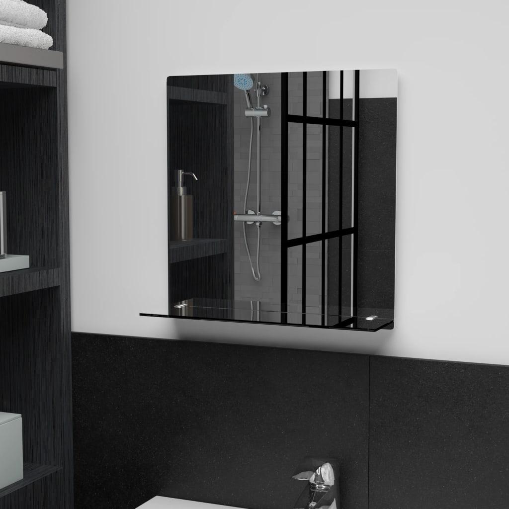 Nástěnné zrcadlo s policí 40 x 40 cm tvrzené sklo