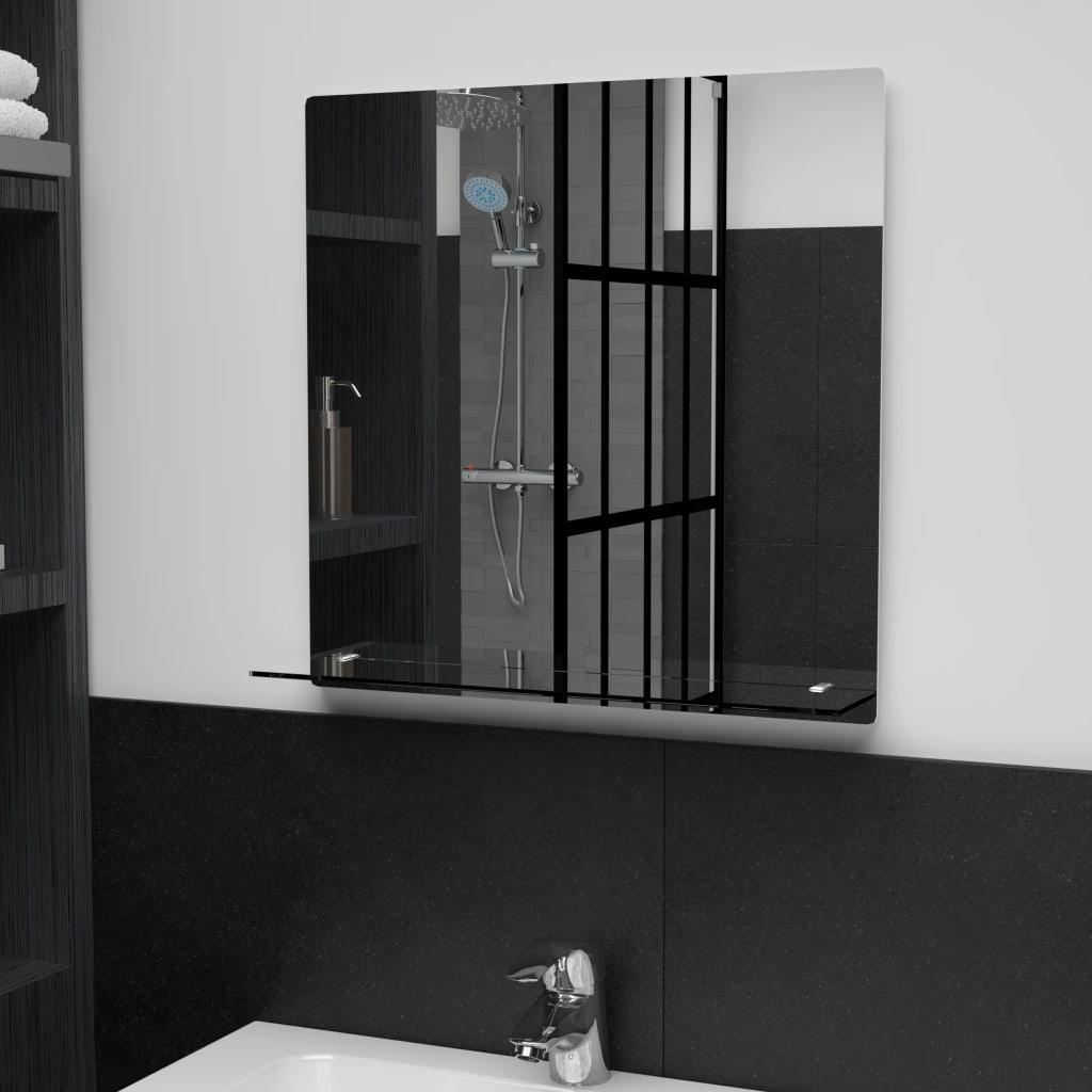 Nástěnné zrcadlo s policí 50 x 50 cm tvrzené sklo