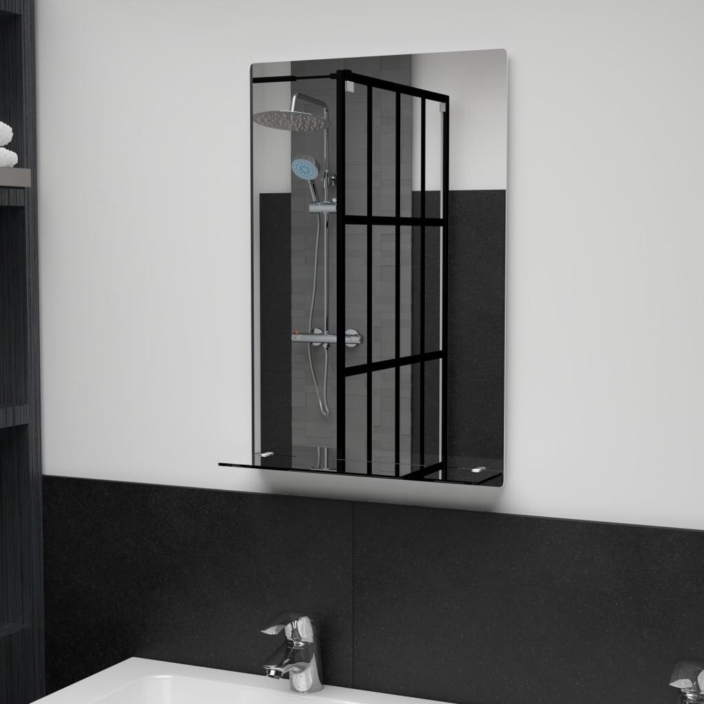 Nástěnné zrcadlo s policí 40 x 60 cm tvrzené sklo