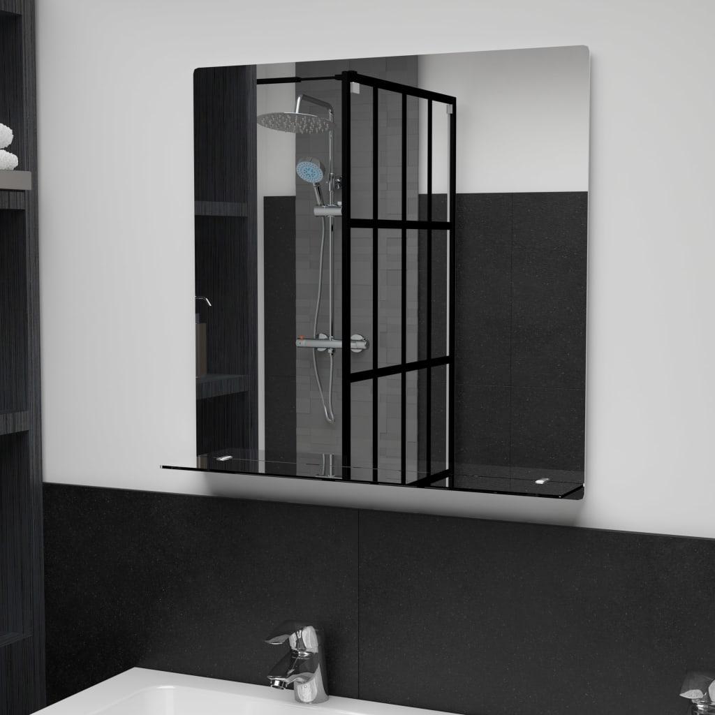 Nástěnné zrcadlo s policí 60 x 60 cm tvrzené sklo