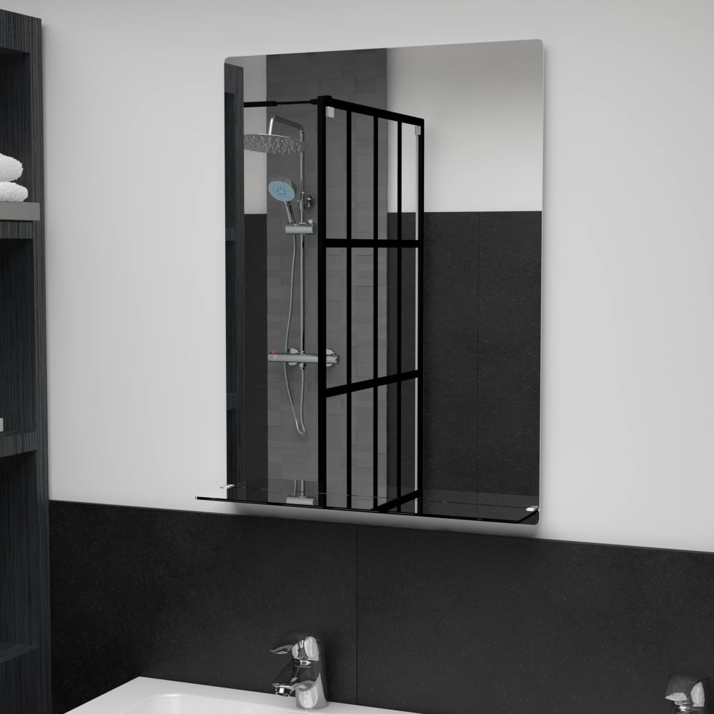 Nástěnné zrcadlo s policí 50 x 70 cm tvrzené sklo