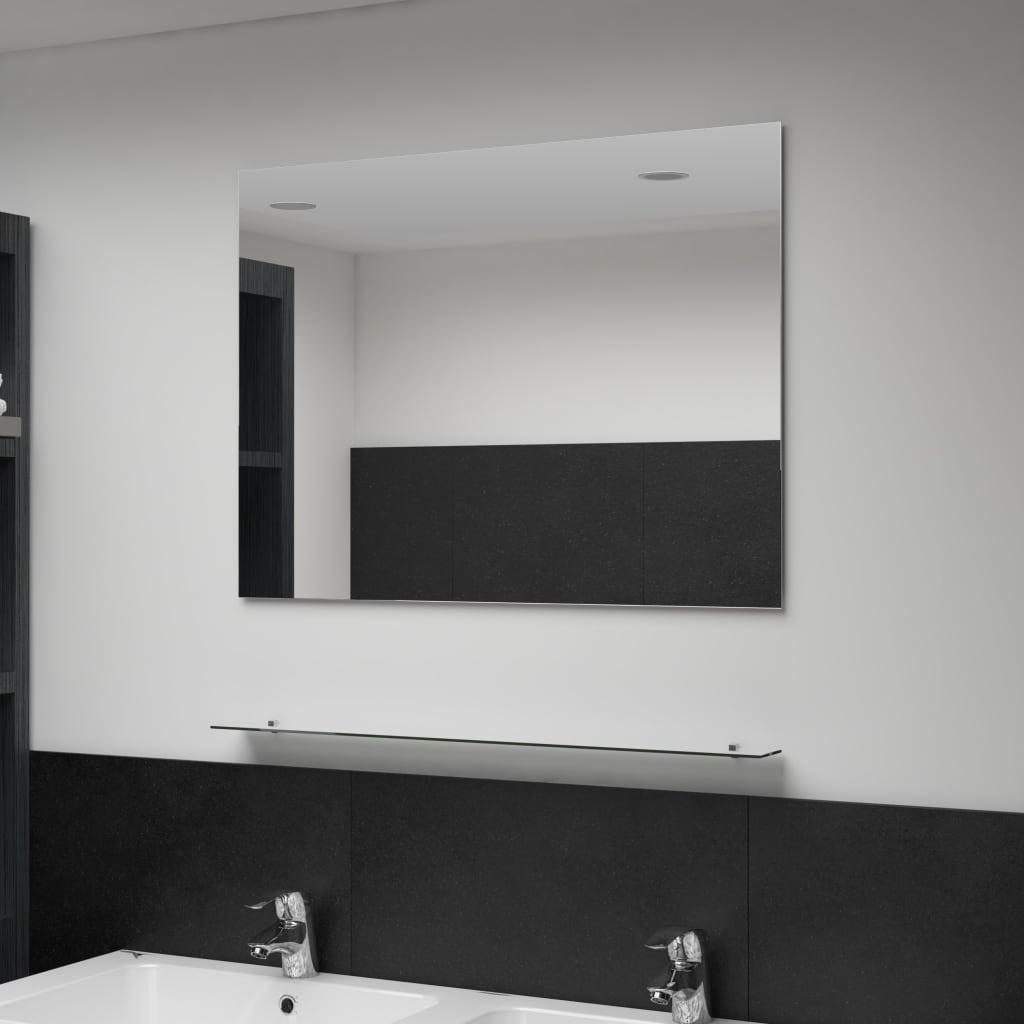 vidaXL Nástěnné zrcadlo s policí 80 x 80 cm tvrzené sklo