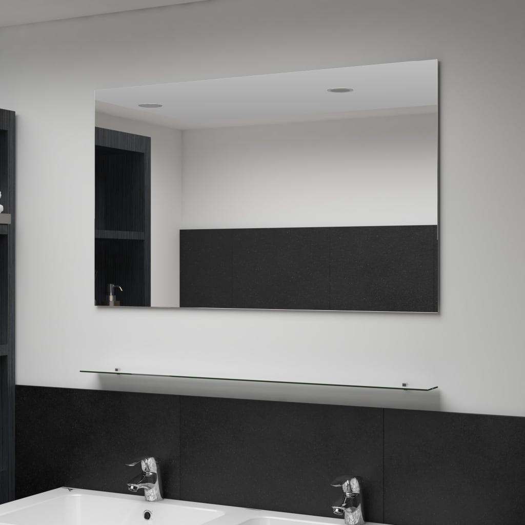 vidaXL Lustro ścienne z półką, 100x60 cm, hartowane szkło