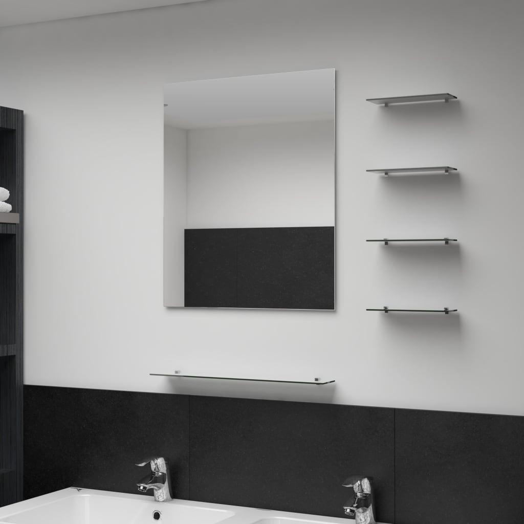 Nástěnné zrcadlo s 5 poličkami stříbrné 50 x 60 cm