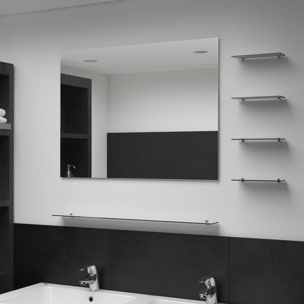 Nástěnné zrcadlo s 5 poličkami stříbrné 80 x 60 cm