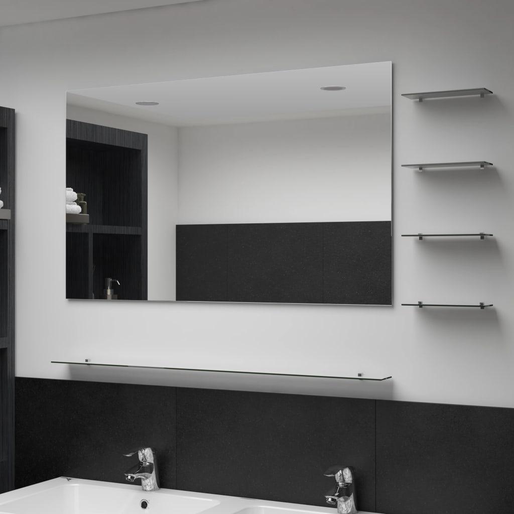 vidaXL Nástěnné zrcadlo s 5 poličkami stříbrné 100 x 60 cm