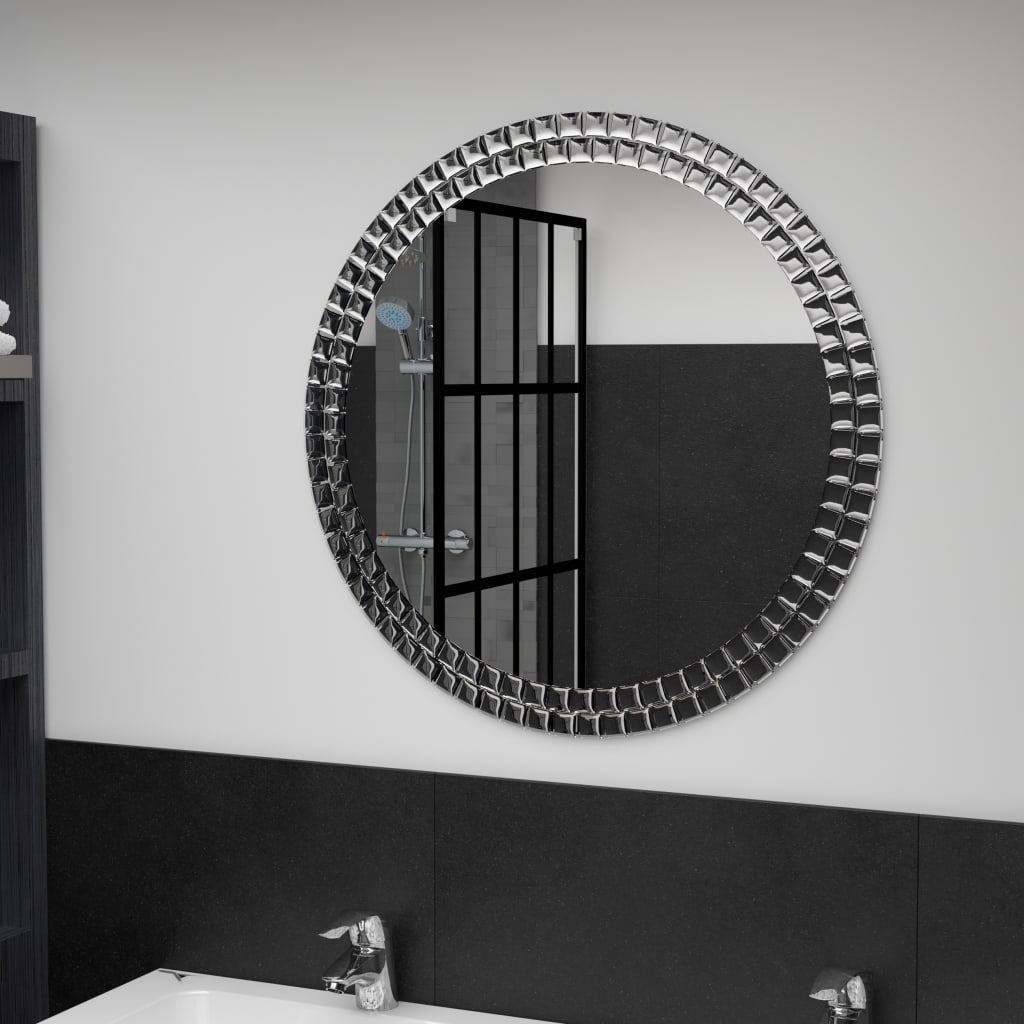 vidaXL Oglindă de perete, argintiu, 70 cm, sticlă securizată imagine vidaxl.ro