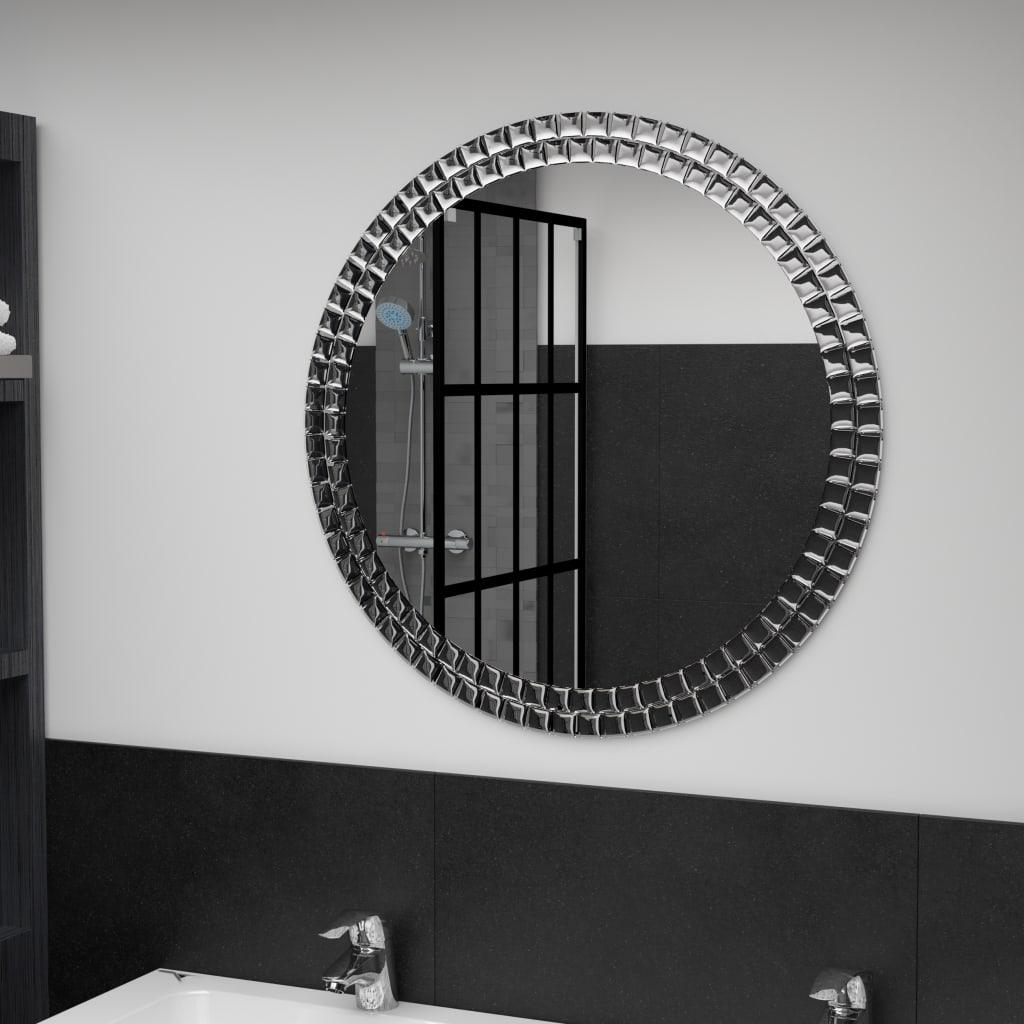 vidaXL Nástěnné zrcadlo stříbrné 70 cm tvrzené sklo