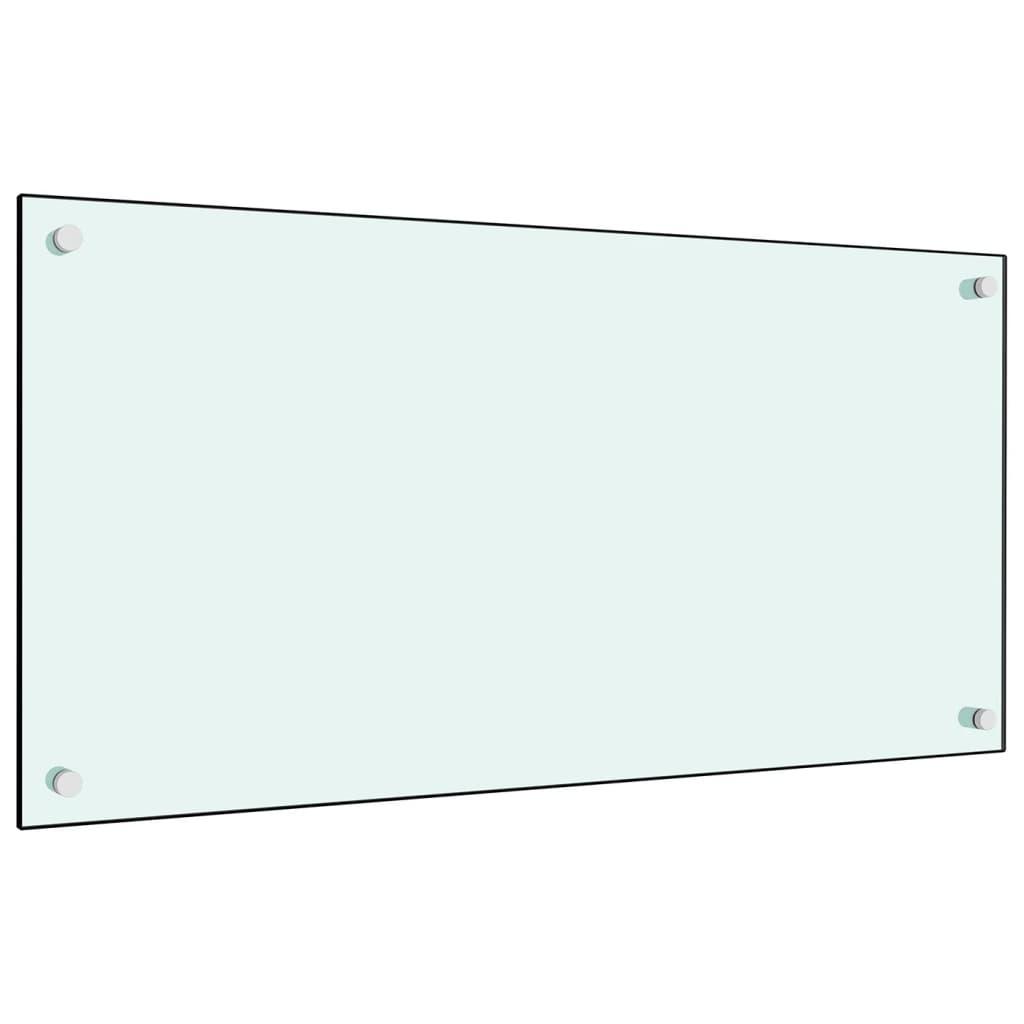 vidaXL Panou antistropi bucătărie, alb, 80x40 cm, sticlă securizată poza vidaxl.ro