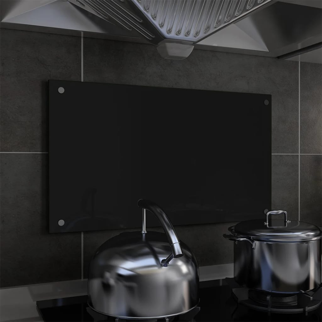 Kuchyňský panel černý 70 x 40 cm tvrzené sklo