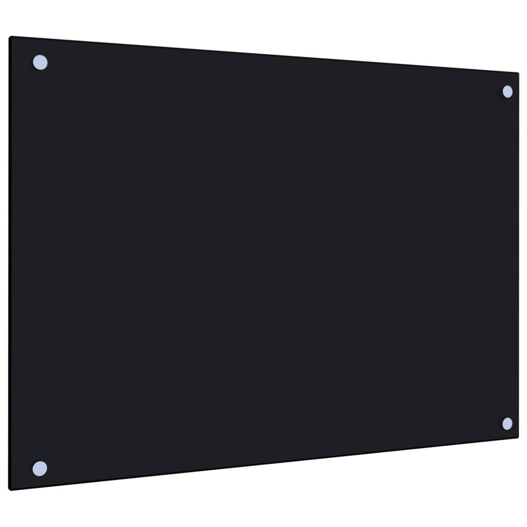 Kuchyňský panel černý 70 x 50 cm tvrzené sklo