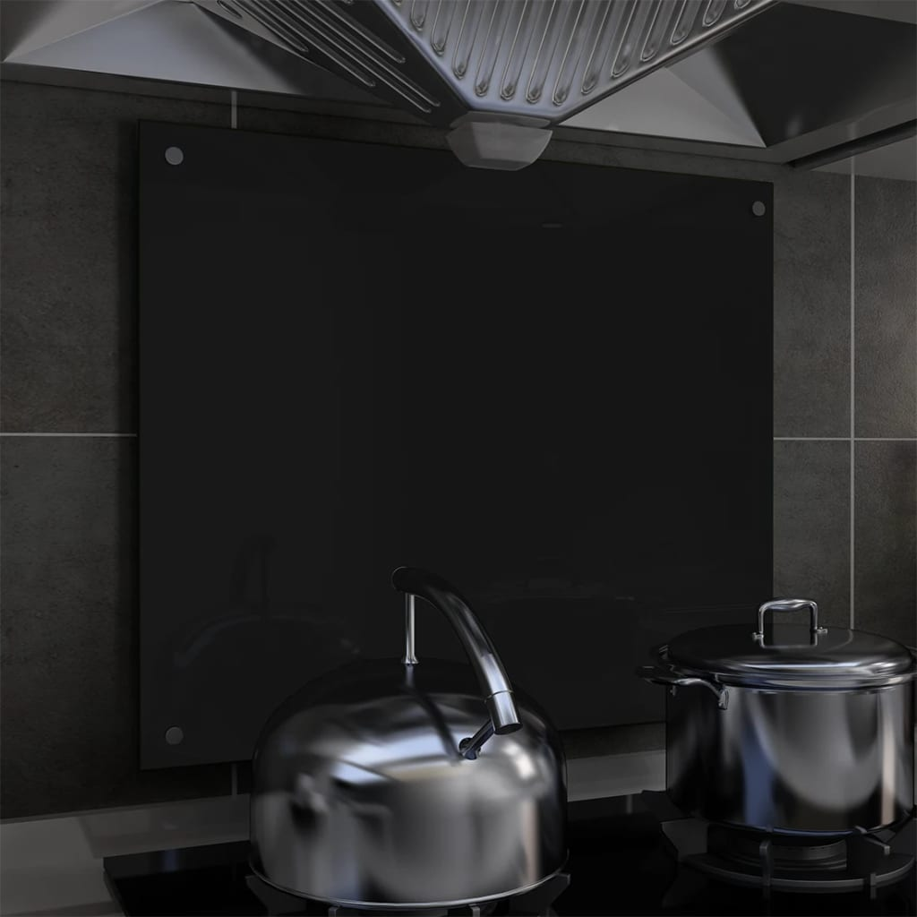 vidaXL Panou antistropi bucătărie, negru, 70x60 cm, sticlă securizată poza vidaxl.ro
