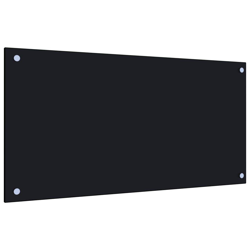 vidaXL Panou antistropi bucătărie, negru, 80x40 cm, sticlă securizată poza vidaxl.ro