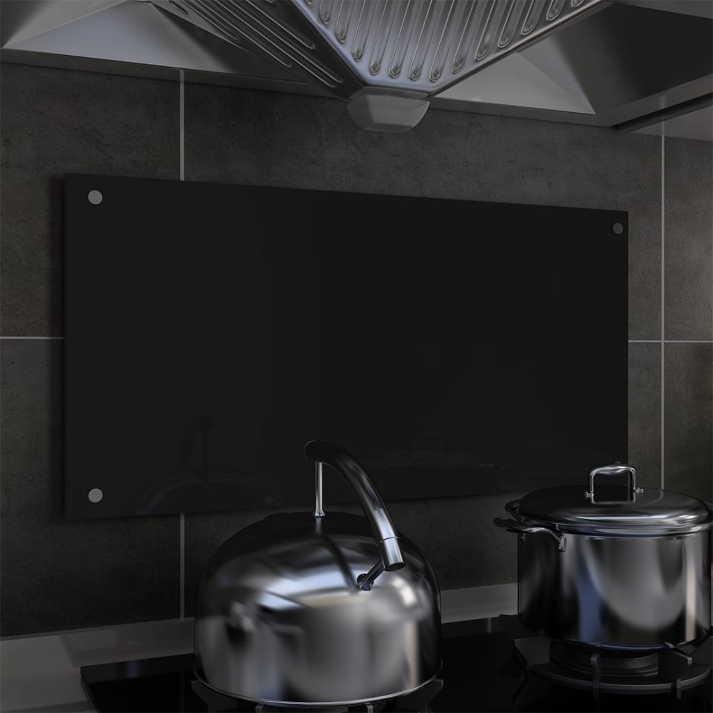vidaXL Kuchyňský panel černý 80 x 40 cm tvrzené sklo