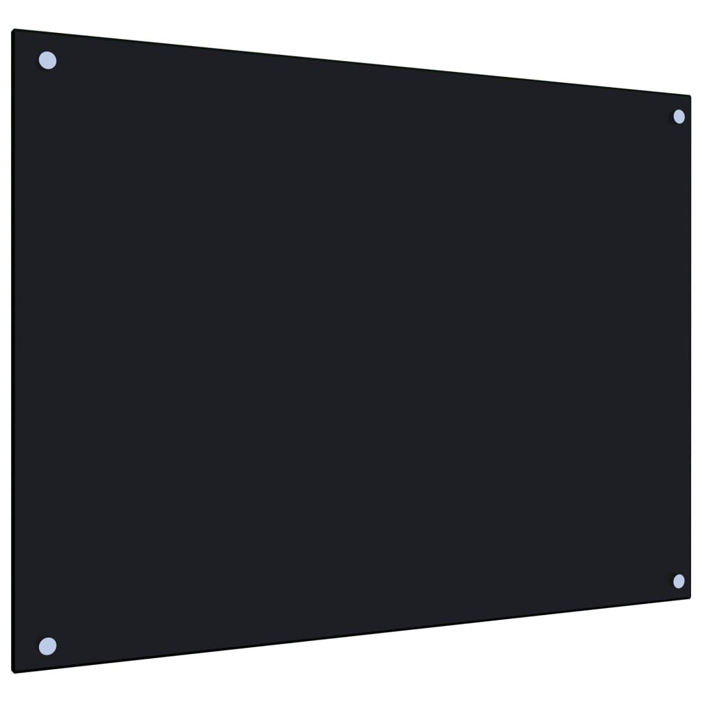 vidaXL Panou antistropi bucătărie, negru, 80x60 cm, sticlă securizată imagine vidaxl.ro