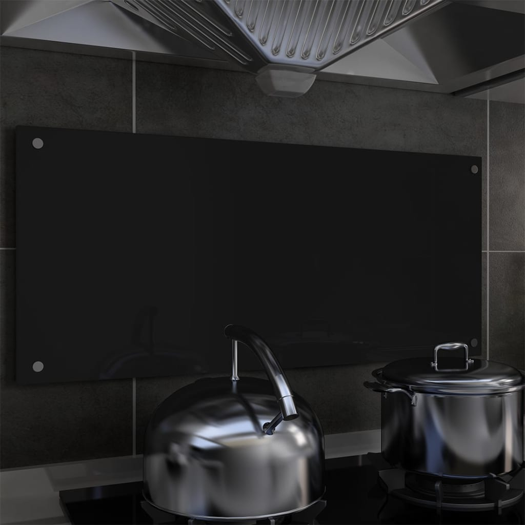 Kuchyňský panel černý 90 x 40 cm tvrzené sklo