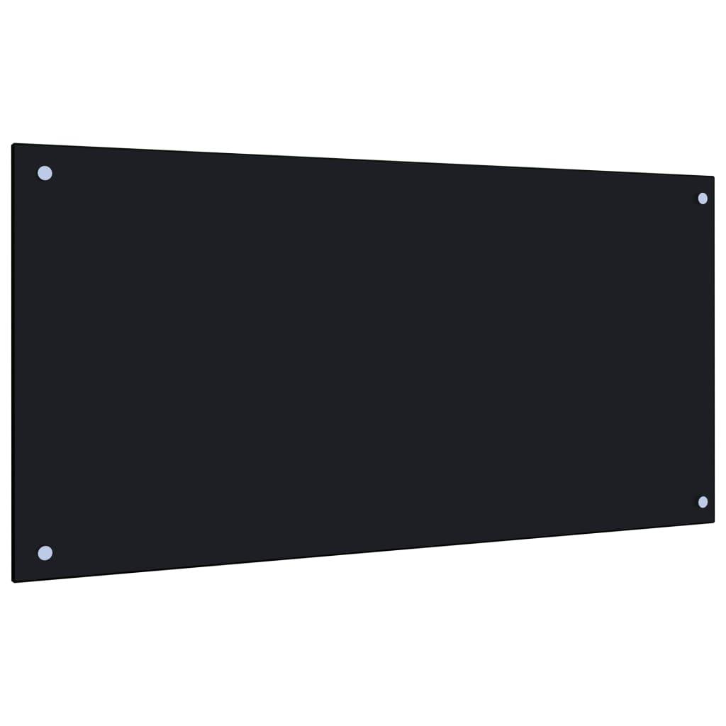 vidaXL Panou antistropi bucătărie, negru, 100x50 cm, sticlă securizată poza vidaxl.ro